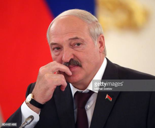 President of Belarus Alexander Lukashenko speaks during the Supreme State Council of Russia and Belarus with Russian President Vladimir Putin at the...