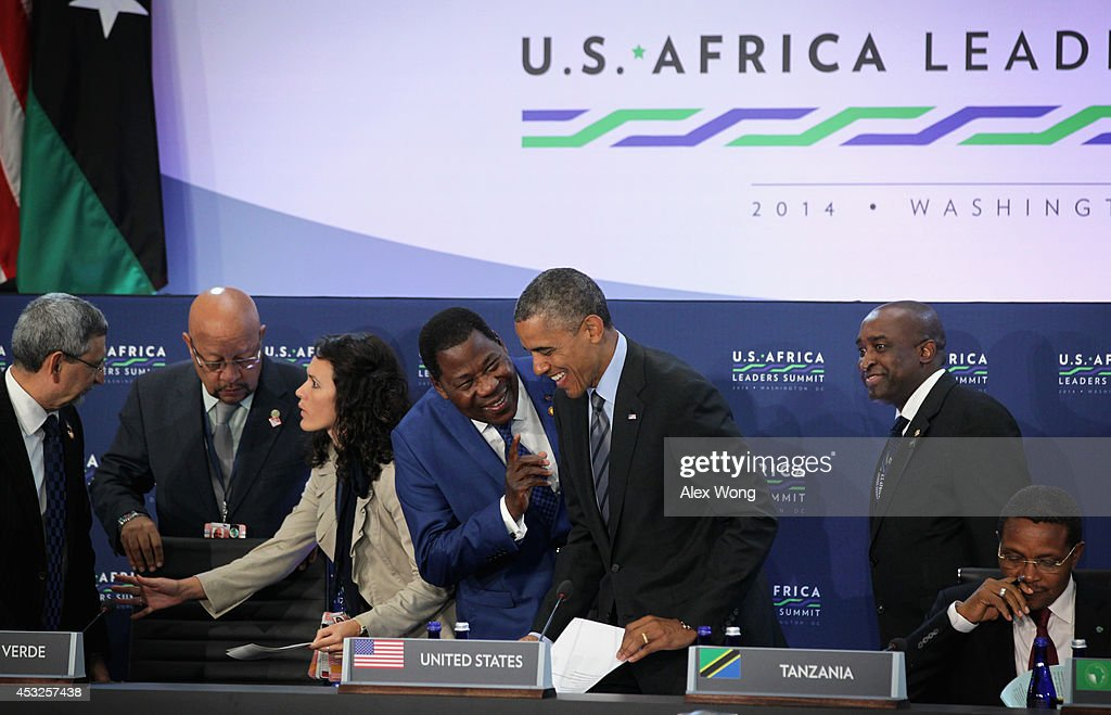 President of Benin Boni Yayi (4th L) chats with U.S. President <a gi-track='captionPersonalityLinkClicked' href=/galleries/search?phrase=Barack+Obama&family=editorial&specificpeople=203260 ng-click='$event.stopPropagation()'>Barack Obama</a> (5th L) prior to a session during the U.S.-Africa Leaders Summit August 6, 2014 at the State Department in Washington, DC. President Obama hosted the last day of the first-ever summit to strengthen ties between the United States and African nations.