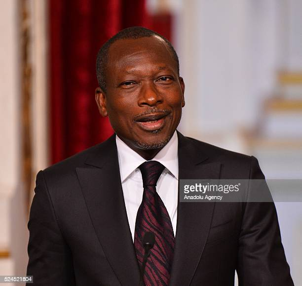 President of Benin Patrice Talon delivers a speech during a joint press conference with French President Francois Hollande after their meeting at the...
