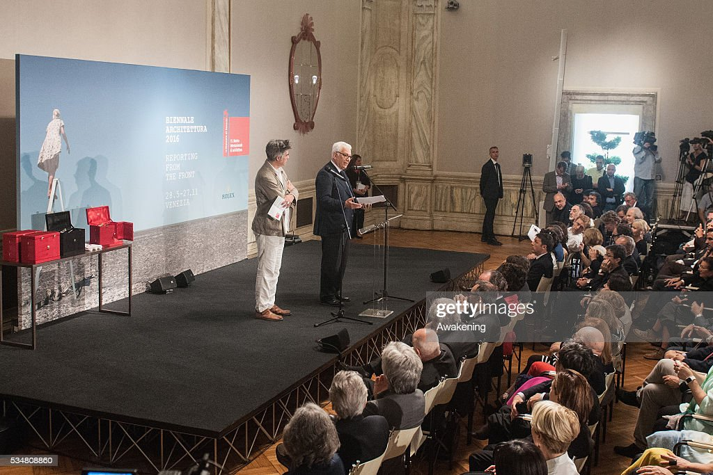 President of Biennale Paolo Baratta and the curator Alejandro Aravena attend at the official opening ceremony of the 15th Biennale of Architecture on May 28, 2016 in Venice, Italy. The 15th International Architecture Exhibition of La Biennale di Venezia will be open to the public from May 28 to November 27 in Venice, Italy.