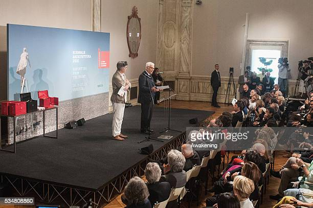 President of Biennale Paolo Baratta and the curator Alejandro Aravena attend at the official opening ceremony of the 15th Biennale of Architecture on...