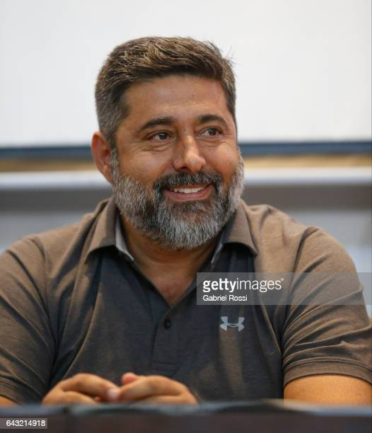 President of Boca Juniors Daniel Angelici smiles during the broadcast proposals bid for Argentinian football at AFA headquarters on February 20 2017...