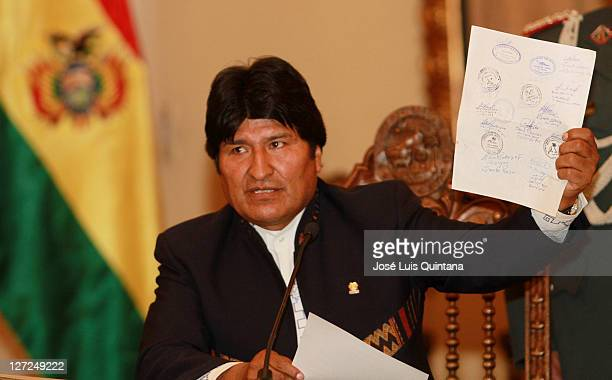President of Bolivia Evo Morales Ayma talks for the press during a conference at Red Saloon of the Government Palace to announce the suspension of...