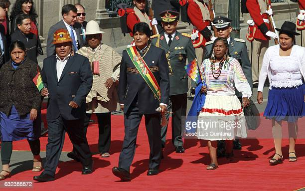 President of Bolivia Evo Morales goes to the Plurinational Legislative Assembly to inform about his government during the celebration of the 11th...