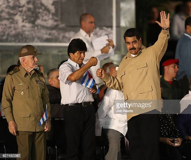 President of Bolivia Evo Morales greets Venezuela's President Nicolas Maduro at a memorial tribute for former President of Cuba Fidel Castro at the...