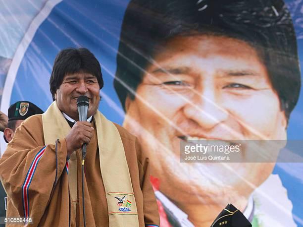 President of Bolivia Evo Morales inaugurates Wiphala condominium on February 15 2016 in La Paz Bolivia The walls of Wiphala condominium were painted...
