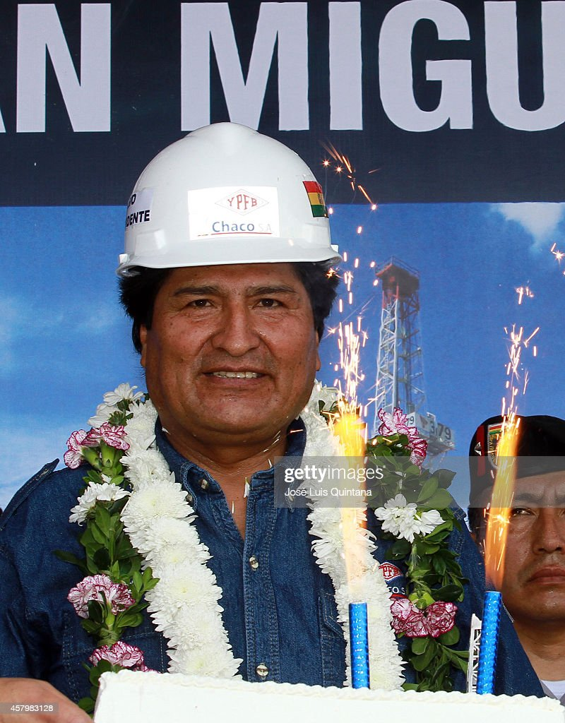 President of Bolivia Evo Morales smiles during the celebration of his 55th birthday during a tour of inspection at San Miguel-X1 well on October 26, 2014 in Cochabamba, Bolivia.