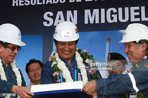President of Bolivia Evo Morales smiles during the celebration of his 55th birthday during a tour of inspection at San MiguelX1 well on October 26...