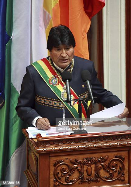 President of Bolivia Evo Morales speaks to the Plurinational Legislative Assembly during the celebration of the 11th anniversary of Evo Morales'...