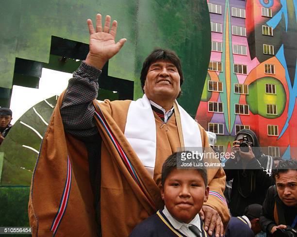 President of Bolivia Evo Morales waves the audience during the inauguration of Wiphala condominium on February 15 2016 in La Paz Bolivia The walls of...
