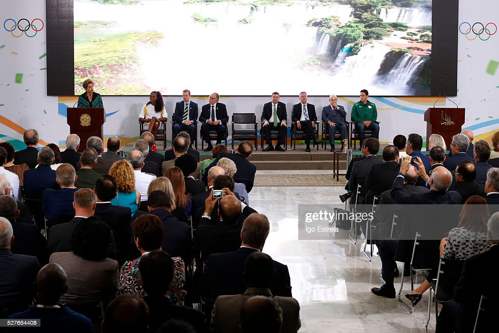 President of Brazil <a gi-track='captionPersonalityLinkClicked' href=/galleries/search?phrase=Dilma+Rousseff&family=editorial&specificpeople=1955968 ng-click='$event.stopPropagation()'>Dilma Rousseff</a> speaks at a ceremony where the pyre and the Olympic torch are lit to start the relay at the Planalto Palace on May 3, 2016 in Brasilia, Brazil. The Olympic torch will pass through 329 cities from all states in Brazil before arriving in Rio de Janeiro on August 5, for the lighting of the cauldron.