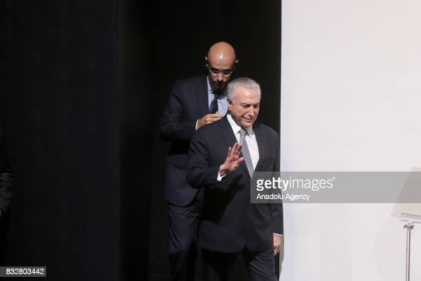 President of Brazil Michel Temer attends Santander's annual conference at the Santander Theater in Sao Paulo Brazil on August 16 2017