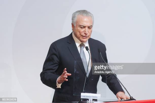 President of Brazil Michel Temer delivers a speech during Santander's annual conference at the Santander Theater in Sao Paulo Brazil on August 16 2017