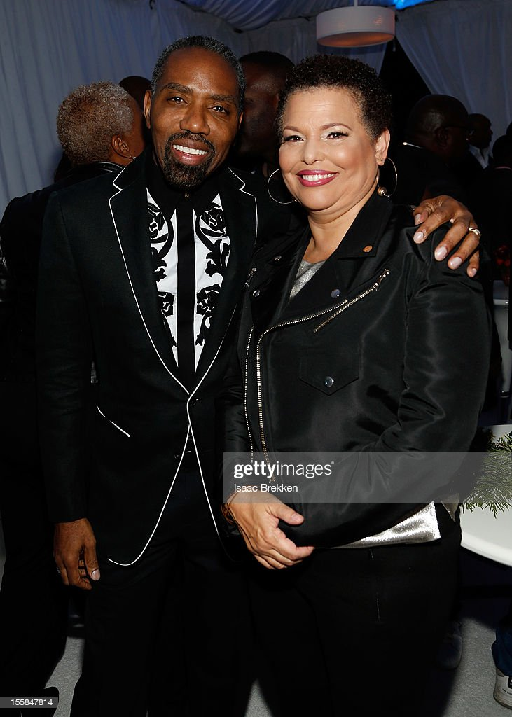 President of Broadcast Media Sales for BET Networks Louis Carr (L) and BET Networks Chairwoman and CEO Debra L. Lee arrive at the Glade Suite at the Soul Train Awards 2012 at PH Live at Planet Hollywood Resort & Casino on November 8, 2012 in Las Vegas, Nevada.