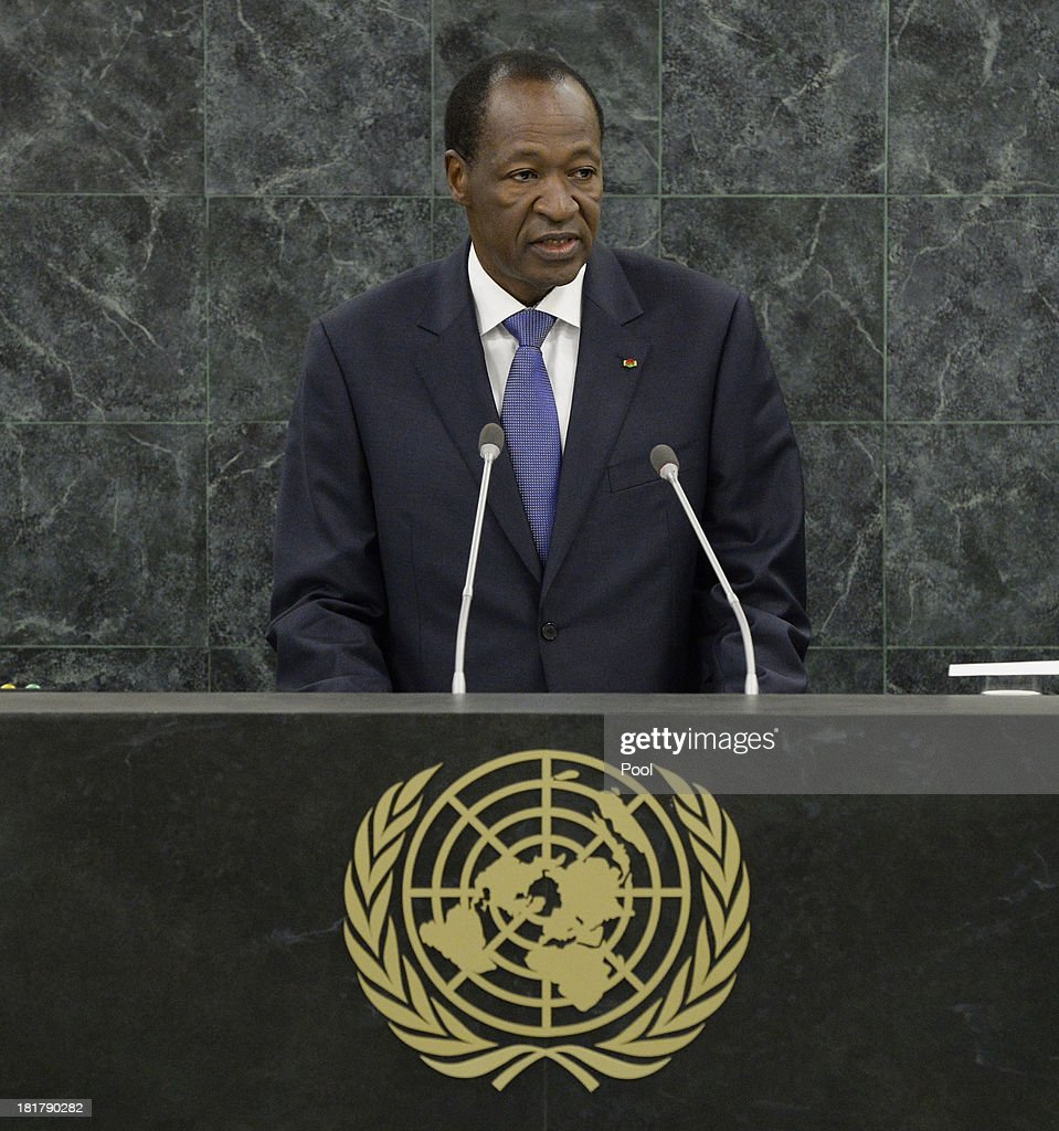President of Burkina Faso <a gi-track='captionPersonalityLinkClicked' href=/galleries/search?phrase=Blaise+Compaore&family=editorial&specificpeople=225022 ng-click='$event.stopPropagation()'>Blaise Compaore</a> speaks during the 68th Session of the United Nations General Assembly on September 25, 2013 in New York City. Over 120 prime ministers, presidents and monarchs are gathering this week for the annual meeting at the temporary General Assembly Hall at the U.N. headquarters while the General Assembly Building is closed for renovations.