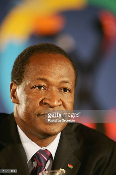 President of BurkinaFaso Blaise Compaore is seen during a press conference at the end of the 10th Francophonie summit on November 27 2004 in...