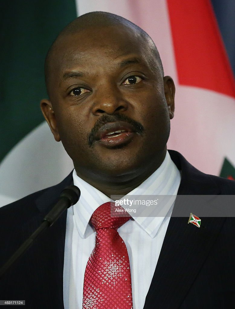 President of Burundi <a gi-track='captionPersonalityLinkClicked' href=/galleries/search?phrase=Pierre+Nkurunziza&family=editorial&specificpeople=563215 ng-click='$event.stopPropagation()'>Pierre Nkurunziza</a> makes remarks to members of the media before a bilateral meeting with U.S. Secretary of State John Kerry during the U.S.-Africa Leaders Summit at the Department of State August 4, 2014 in Washington, DC. President Barack Obama is set to promote business relationships between the United States and African countries while hosting the first-ever leaders summit, where 49 heads of state will be meeting in Washington over the next three days.