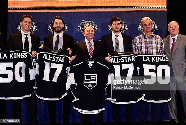 President of Business Operations Luc Robitaille and defenseman Drew Doughty of the Los Angeles Kings NHL Commissioner Gary Bettman goaltender...