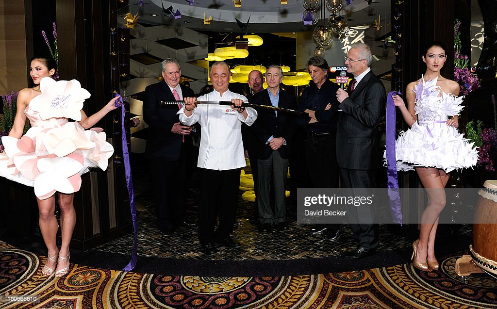 President of Caesars Entertainment Corp. Western Division Tom Jenkin, chef Nobu Matsuhisa, CEO of Nobu Hospitality Trevor Horwell, actor Robert De Niro, Caesars Palace President Gary Selesner and designer David Rockwell appear during ribbon cutting ceremony at a preview for the Nobu Restaurant and Lounge Caesars Palace on February 2, 2013 in Las Vegas, Nevada. The Nobu Hotel Restaurant and Lounge Casears Palace is scheduled to open on February 4.