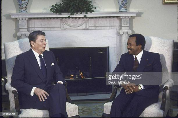 President of Cameroon Paul Biya meeting with President Reagan in Oval Office