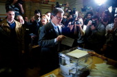 President of Catalonia and of the ProIndependent Catalan Convergence and Unity party and Artur Mas casts his ballot for regional elections held in...