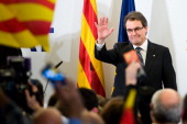 President of Catalonia and of the ProIndependent Catalan Convergence and Unity party Artur Mas greets the crowd before delivering his speech after...