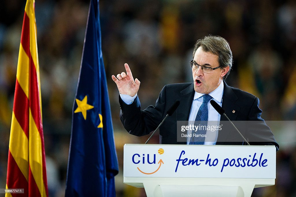 President of Catalonia and President of the Pro-independent political party Convergence and Union (CIU) <a gi-track='captionPersonalityLinkClicked' href=/galleries/search?phrase=Artur+Mas&family=editorial&specificpeople=712829 ng-click='$event.stopPropagation()'>Artur Mas</a> speaks during the closing rally ahead of Catalan Elections at the Palau Sant Jordi on November 23, 2012 in Barcelona, Spain. Over five million Catalans will be voting in Parliamentary elections on November 25, with opinion polls showing majority support for pro-independence parties.
