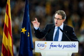 President of Catalonia and President of the Proindependent political party Convergence and Union Artur Mas speaks during the closing rally ahead of...