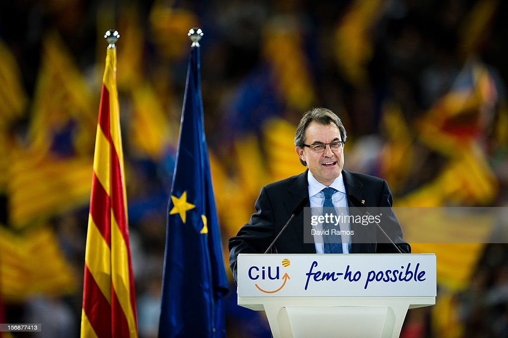 President of Catalonia and President of the Pro-independent political party Convergence and Union (CIU) Artur Mas speaks during the closing rally ahead of Catalan Elections at the Palau Sant Jordi on November 23, 2012 in Barcelona, Spain. Over five million Catalans will be voting in Parliamentary elections on November 25, with opinion polls showing majority support for pro-independence parties.