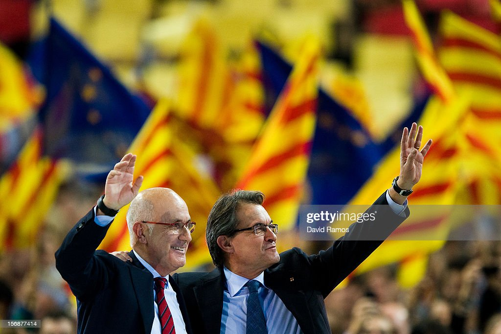 President of Catalonia and President of the Pro-independent political party Convergence and Union (CIU) <a gi-track='captionPersonalityLinkClicked' href=/galleries/search?phrase=Artur+Mas&family=editorial&specificpeople=712829 ng-click='$event.stopPropagation()'>Artur Mas</a> (R) and Josep Antoni Duran i LLeida, President of Democratic Union of Catalonia, a political party which is part of Convergence and Union (CIU), during the closing rally ahead of Catalan Elections at the Palau Sant Jordi on November 23, 2012 in Barcelona, Spain. Over five million Catalans will be voting in Parliamentary elections on November 25, with opinion polls showing majority support for pro-independence parties.