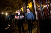 President of Catalonia Artur Mas and President of the AntiCorruption Commission David Fernandez arrive at the Parliament on February 9 2015 in...