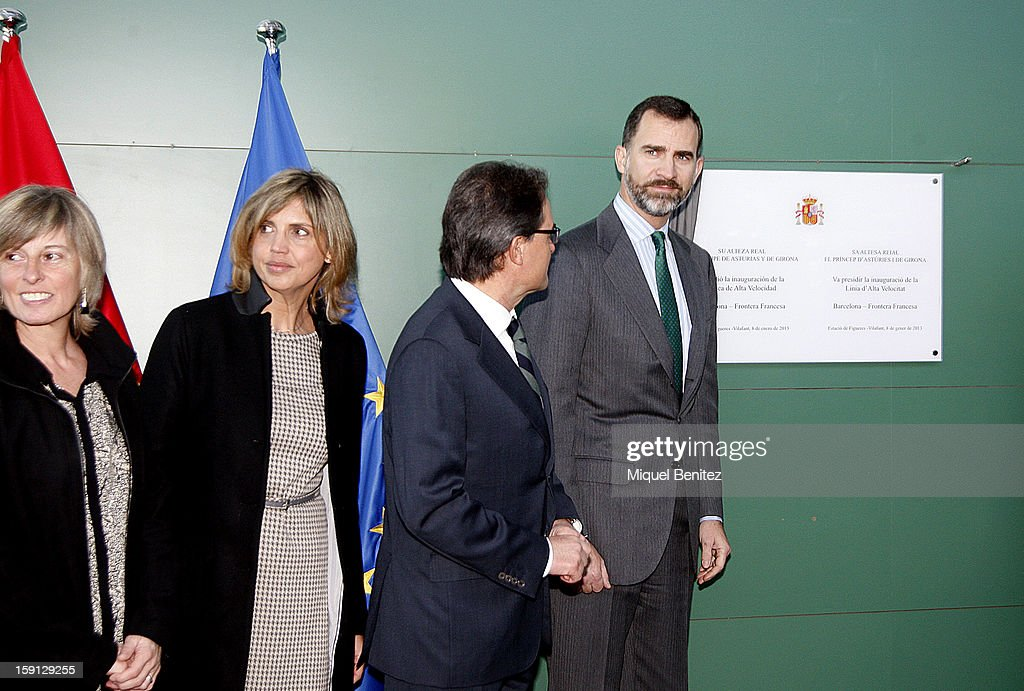 President of Catalonia Artur Mas and Prince Felipe of Spain unveil a commemorative plaque at Figueres-Vilafant train station during the inauguration of the AVE high-speed train line between Barcelona and the French border on January 8, 2013 in Barcelona, Spain.