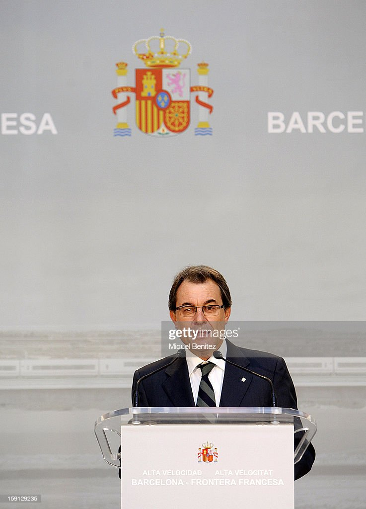 President of Catalonia Artur Mas attends a press presentation at Girona train station during the inauguration of the AVE high-speed train line between Barcelona and the French border on January 8, 2013 in Barcelona, Spain.