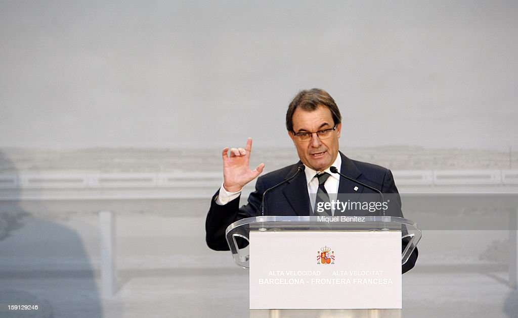 President of Catalonia <a gi-track='captionPersonalityLinkClicked' href=/galleries/search?phrase=Artur+Mas&family=editorial&specificpeople=712829 ng-click='$event.stopPropagation()'>Artur Mas</a> attends a press presentation at Girona train station during the inauguration of the AVE high-speed train line between Barcelona and the French border on January 8, 2013 in Barcelona, Spain.