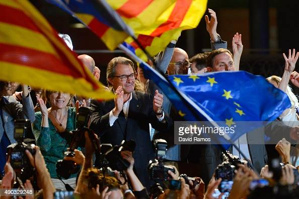 President of Catalonia Artur Mas celebrates after the Catalanist coalition 'Junts Pel Si' reportedly look close to winning the regional elections...