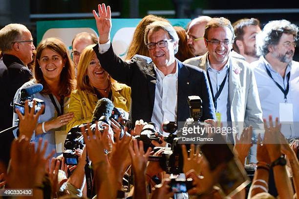 President of Catalonia Artur Mas celebrates after the Catalanist coalition 'Junts pel Si' claimed victory in the regional elections held in Catalonia...