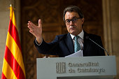 President of Catalonia Artur Mas faces the media during a press conference at Palau de La Generalitat on October 14 2014 in Barcelona Spain Artur Mas...