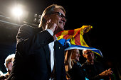 President of Catalonia Artur Mas gestures to wellwishers after the Catalanist coalition 'Junts pel Si' claimed victory in the regional elections held...
