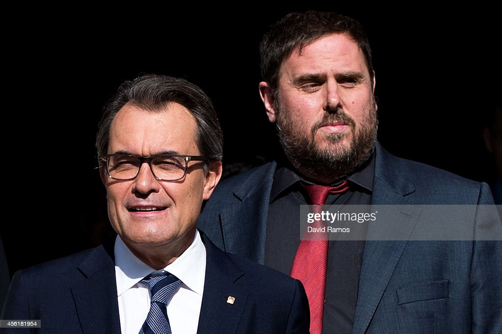 President of Catalonia Artur Mas leaves the Palau de la Generalitat the Catalan government building next to the Leader of the ProIndependence...
