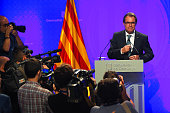 President of Catalonia Artur Mas poses for the media before a press conference on August 4 2015 in Barcelona Spain Catalan President Artur Mas signed...