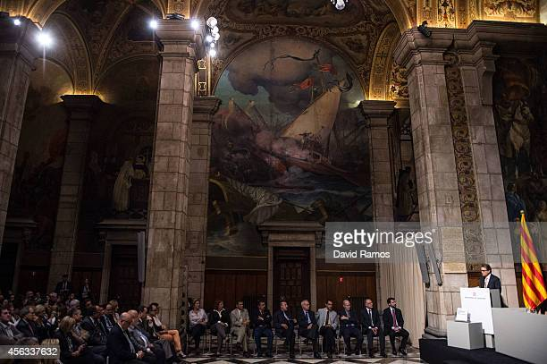 President of Catalonia Artur Mas speaks as he unveils the White Book on National Transition on September 29 2014 in Barcelona Spain The White Book...