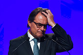 President of Catalonia Artur Mas speaks during a press conference on August 4 2015 in Barcelona Spain Catalan President Artur Mas signed a decree...