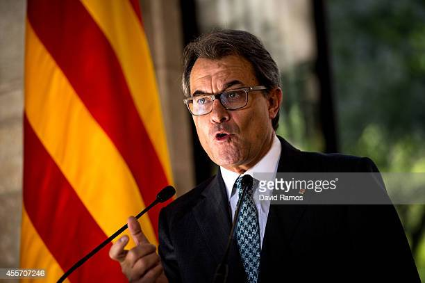 President of Catalonia Artur Mas speaks during a press conference following the result of the Scottish Independence referendum on September 19 2014...