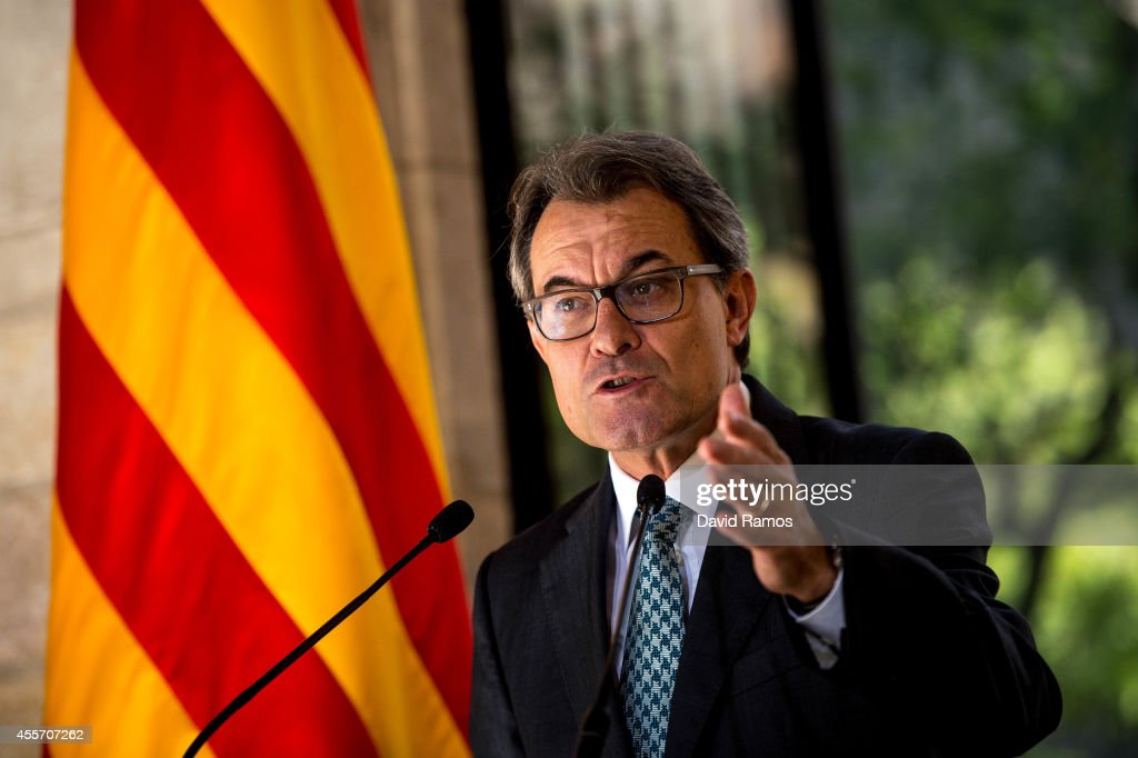 President of Catalonia <a gi-track='captionPersonalityLinkClicked' href=/galleries/search?phrase=Artur+Mas&family=editorial&specificpeople=712829 ng-click='$event.stopPropagation()'>Artur Mas</a> speaks during a press conference following the result of the Scottish Independence referendum on September 19, 2014 in Barcelona, Spain. The Catalonian Parliament votes today to approve a law allowing Catalonia to have a self-determination referendum.