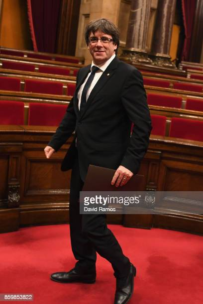 President of Catalonia Carles Puigdemont leaves the chamber after the session at the Palau del Parlament de Catalunya on October 10 2017 in Barcelona...