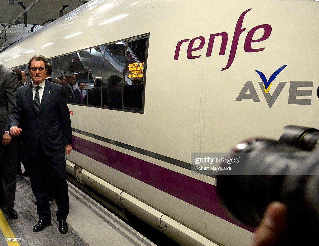 President of Catalunya Artur Mas attends a press presentation at the Girona train station for the inauguration of the AVE high-speed train line between Barcelona and the French border on January 8, 2013 in Barcelona, Spain.