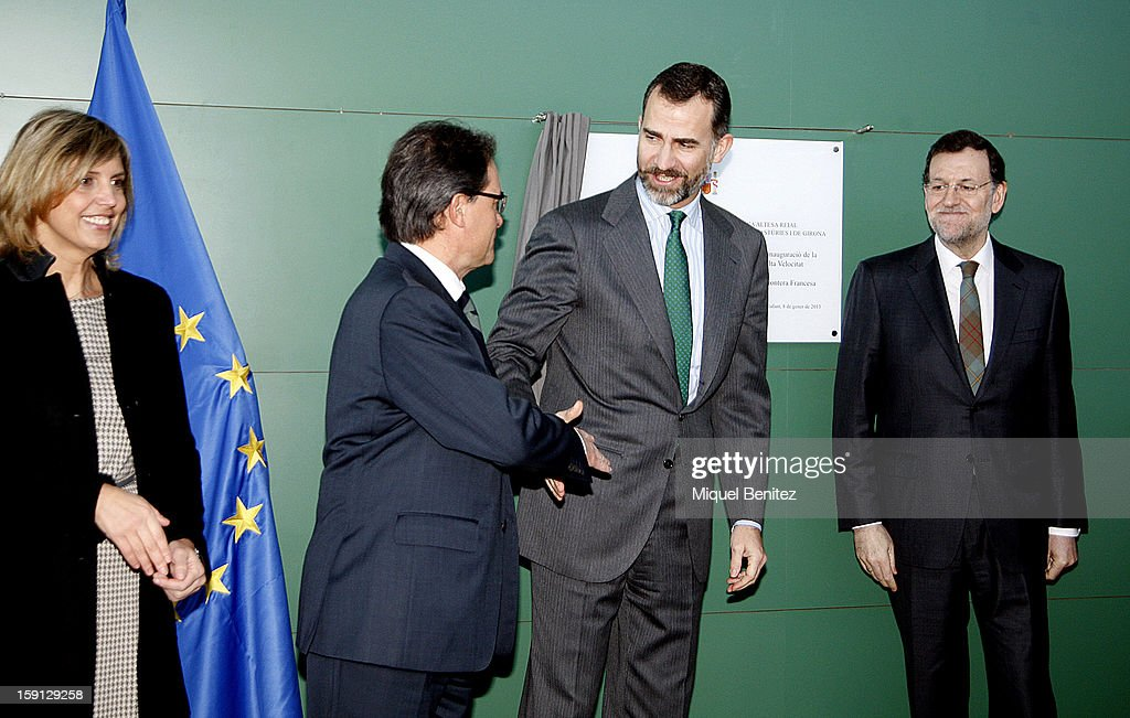 President of Catalunya <a gi-track='captionPersonalityLinkClicked' href=/galleries/search?phrase=Artur+Mas&family=editorial&specificpeople=712829 ng-click='$event.stopPropagation()'>Artur Mas</a>, Prince Felipe of Spain and Prime Minister of Spain Mariano Rajoy unveil a commemorative plaque at Figueres-Vilafant train station during the inauguration of the AVE high-speed train line between Barcelona and the French border on January 8, 2013 in Barcelona, Spain.