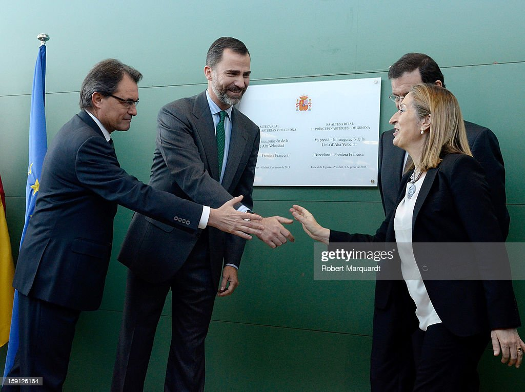 President of Catalunya <a gi-track='captionPersonalityLinkClicked' href=/galleries/search?phrase=Artur+Mas&family=editorial&specificpeople=712829 ng-click='$event.stopPropagation()'>Artur Mas</a>, Prince Felipe of Spain, Prime Minister of Spain Mariano Rajoy and Spain's Minister of Development Ana Pastor unveil a commemorative plaque at the Figueres-Vilafant train station for the inauguration of the AVE high-speed train line between Barcelona and the French border on January 8, 2013 in Barcelona, Spain.