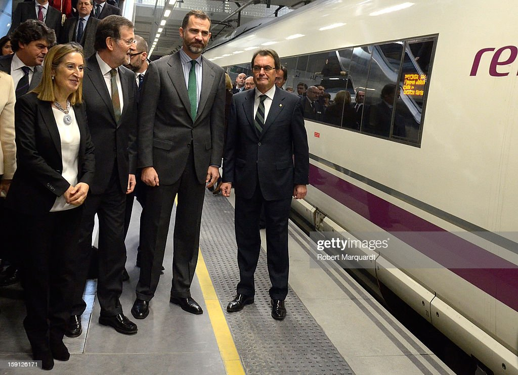 President of Catalunya <a gi-track='captionPersonalityLinkClicked' href=/galleries/search?phrase=Artur+Mas&family=editorial&specificpeople=712829 ng-click='$event.stopPropagation()'>Artur Mas</a>, Prince Felipe of Spain, Prime Minister of Spain Mariano Rajoy and Spain's Minister of Development Ana Pastor attend a press presentation at the Girona train station for the inauguration of the AVE high-speed train line between Barcelona and the French border on January 8, 2013 in Barcelona, Spain.