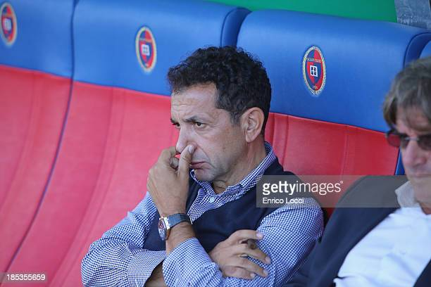President of Catania Pulvirenti Antonino looks on during the Serie A match between Cagliari Calcio and Calcio Catania at Stadio Sant'Elia on October...